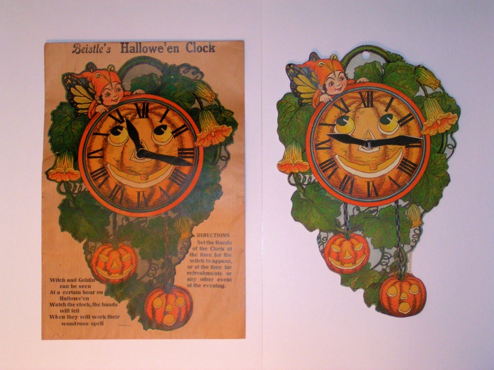Hallowe'en Clock with Original Envelope, USA, Beistle, 1923